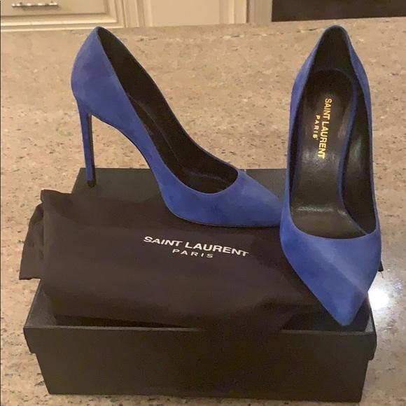 70fae181f31 Saint Laurent Shoes   Skinny Electric Blue Suede Pumps   Poshmark